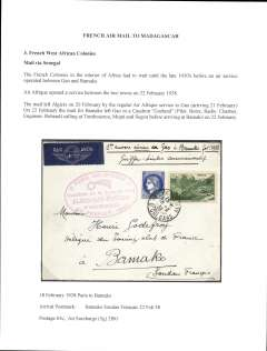 (French Sudan) Rare, Paris to Bamako, French Sudan, bs 22/2, carried on F/F  from Gao to Bamako in Caudron 'Goeland' by pilot Borre, via Timbuctu, Mopti and Segou, airmail etiquette cover franked 65c overseas postage and 2F air surcharge, official red oval flight cachet.