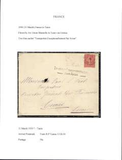 """(France) Air Union, Marseille to Tunis, bs 13/3, via Corsica, plain cover franked 50c for surface mail, but carried by air with fine strike """"Transporte Exceptionellement Par Avion""""."""