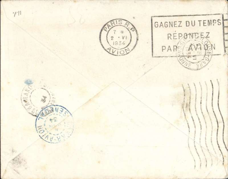 (French Sudan) Lille to Bamako, French Sudan, bs7/6, via Dakar Avion 4/6, Aeropostale cover correctly rated 50c overseas postage and 3F airmail surcharge. Nice routing.