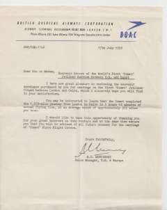 (Ephemera) Comet First Flight London to Cairo, letter on blue/cream BOAC headed notepaper, announcing the new service and the issue of souvenir envelopes.