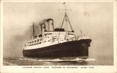 (Ephemera) SS Duchess of Richmond, involved in the St. Lawrence Seaway  North Atlantic air-sea acceleration service 1927-39 carrying inward mail from GB to Canada, original sepia PPC, unused.
