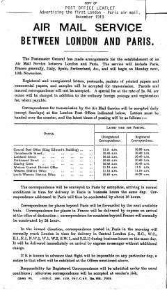 (Ephemera) Air Mail Service Between London and Paris, November 1919, a copy of the Post Office leaflet advertising the service.