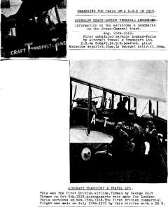 (Ephemera) Aircraft Transport and Travel Ltd, B&W picture (not Photo), 8x9cm, of DH9 embarking for Paris in 1919. Also B&W picture (not photo), 16x12cm, of two passengers boarding an ATT plane in 1919. Both mounted on album leaf with explanatory text.