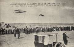 (Ephemera) France, Grande Semaine d'Aviation de la Champagne, Aug 1909, a meeting which marked the coming of age of heavier-than-air aviation. B7W photo PPC showing Wright biplane and Antoinette monoplane in flight.