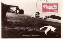 (Ephemera) Costes and Bellonte likely in plane about to depart from Brouget for the Paris-New York flight, Sept 1st, 1930, unused but franked France 1930 1.50F air.