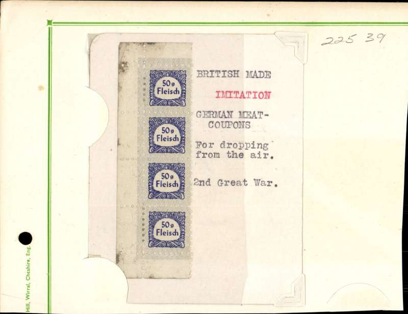 (World War II) WWII British imitation of German Meat Coupons for dropping from the air, strip of 5, each giving eligibility for 50g of Fleisch (Meat).