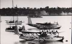 (Ephemera) Centaurus and Sikorsky 'Samoan Clipper sid by side in Auckland harbour, December 1937, B&W photograph, 13x8cm.