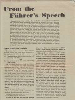 """(Ephemera) """"From the Fuhrer's Speech, German WWII leaflet dropped over Bridlington circa July, 1940, in which he gives an account of the military operations carried out up to that time, c1600 words in English, A4."""