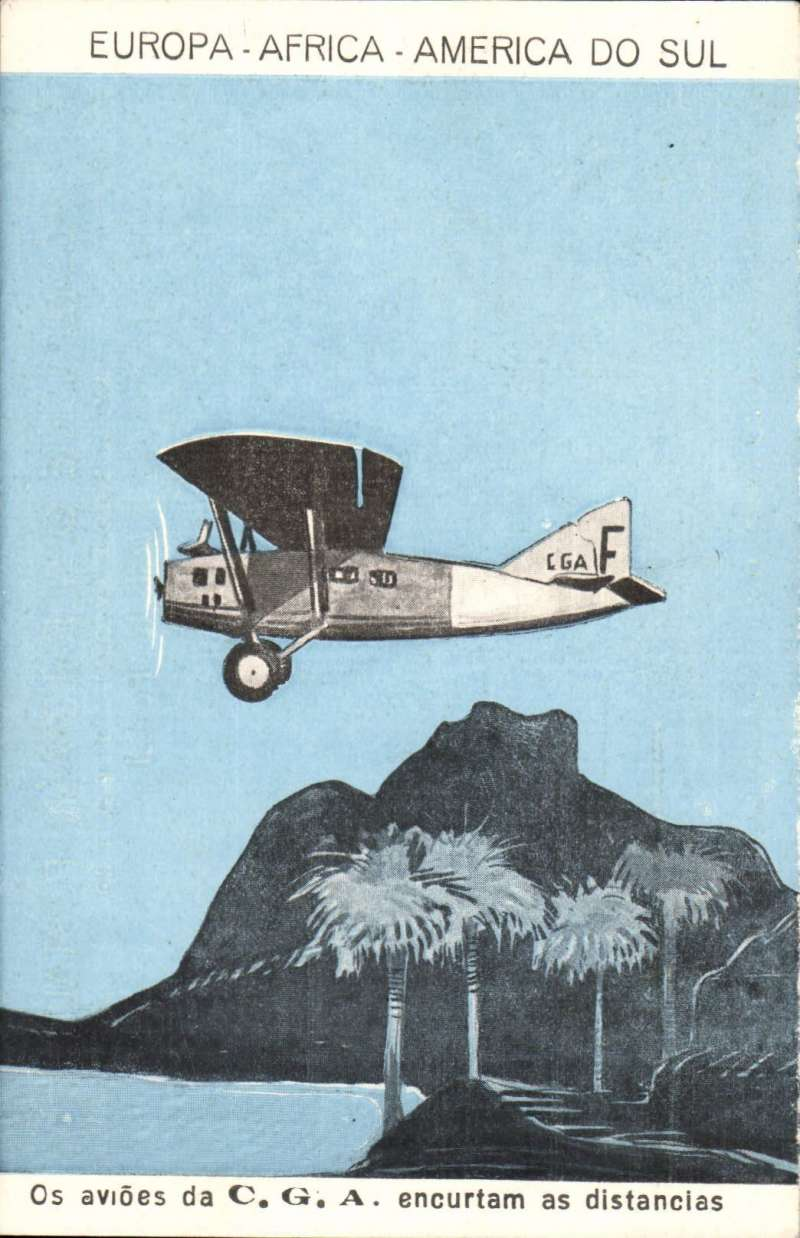 (Ephemera) Rare unused Compagnie Generale Aeropostale 1928 New Year/reduced rate blue/black PPC showing 'Late 25' flying over palm trees. CPPA #3 (RRRR). In pristine condition.