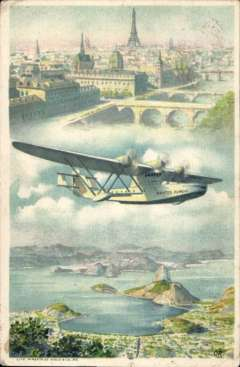 (Ephemera) Air France, rare 1935 New Year/reduced rate colour PPC showing Late 300 'Croix du Sud' in flight, flown Sao Paulo to KIlmarnock, Scotland, franked 1500R, canc Sao Paul 21/1235 cds. CPPA #16 (R).