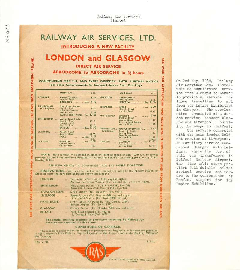 (Ephemera) Railway Air Services Ltd, timetable detailing new accelerated Glasgow-London service to facilitate travel to the Empire Exhibition in Glasgow.