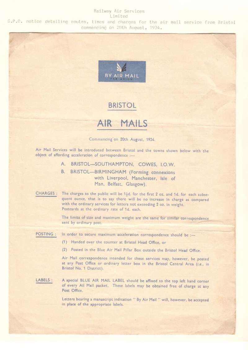 (Ephemera) Railway Air Services, GPO notice giving rotes, times and postal rates for the airmail service from Bristol beginning 20/8/1934, 1pp, 24x18cm.