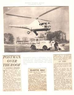 (Ephemera) BEA Sikorski helicopter G-AKCU about to land to collect mail from a Royal Mail van parked in a rubbish dump at Kings Lyn, Norfolk, B&W newspaper picture mounted on card, 17x13cm. Also three cuttings from contemporary news papers, c200 words.