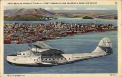 (Ephemera) Pan-American Airways China Clipper arriving over San Francisco, from the Orient, beautiful original colour PPC, circa late 1930's.