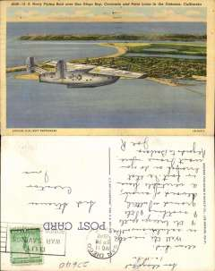 (Ephemera) US Navy Flying Boat over San Diego Bay, Coronado and Point Loma in the Distance, original colour PPC, c mid 1930's.