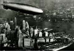 (Ephemera) Graf Zeppelin flying over New York, Midtown and Empire State Building, 1928, B&W photocard,.