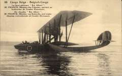 (Ephemera) Belgium, 'Ligne Le Roi Albert', opening of the  aerial route along the Congo river on July 1, 1920. An original sepia PPC showing  M Franc, Belgian Minister of the Colonies, leaving Leopoldville, Congo, in a Levy Lepen HB2 hydroplane to fly upstream to Gombe on the first flight of the opening stage of the Congo River service. An item of historical significance in the development of Belgian aviation.