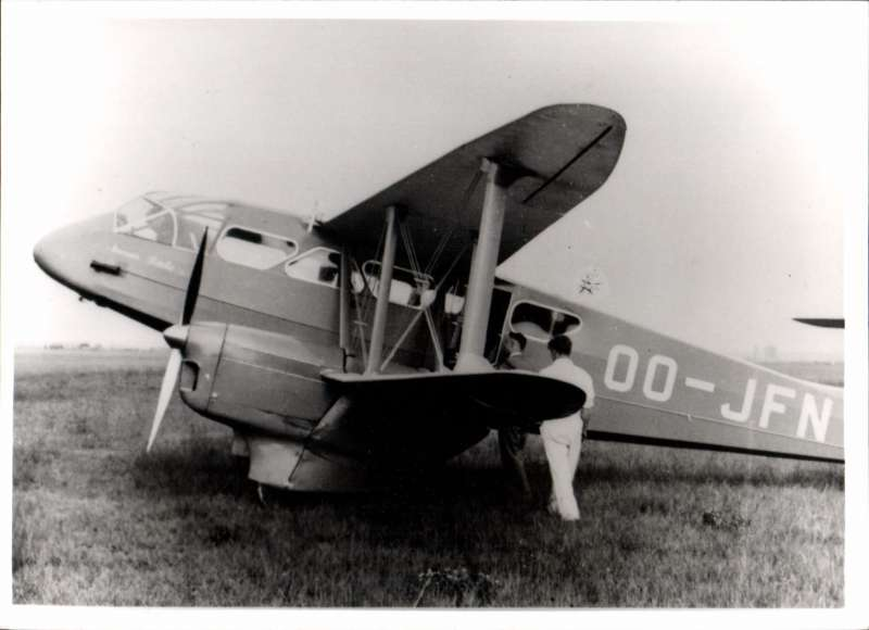 (Ephemera) Belgium, De Havilland DH.90 Dragonfly OO-JFN, an B&W photograph of the period . Requisitioned on 10 Sept 1939 by the Belgian Armed Forces to serve as communications aircraft in WWII. Retreating with the Belgian Armed forces in May 1940 it ended up at Montpellier-Frיgorge in France where it was captured by the enemy.