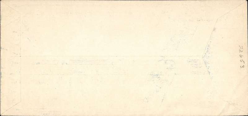 (Ephemera) Belgium, attractive unused blue/white souvenir cover of the first regular flight from Brussels to Leopoldville,  24x11 cm, listing P. Cocquyt, Chief Pilot;  J. Schoonbroodt, 2nd pilot; and F. Maupertuis, Radio Mechanic. A rare item in fine condition
