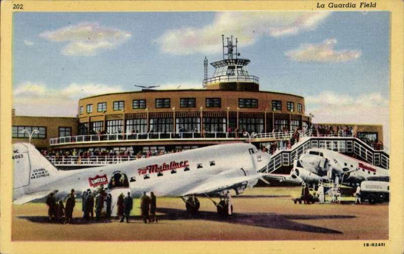 (Ephemera) United Airlines 'Mainliner' DC3, NC 16063, on the tarmac at La Guardia Field airport, colour PPC, circa 1932.