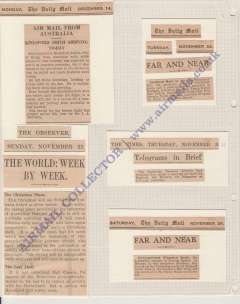 (Ephemera) Kingsford Smith's 1931 flight, five original newspaper cuttings, Nov 22 to Dec 14, covering his flight  from Australia to England with Christmas mail,  c250 words, all mounted on one album page,