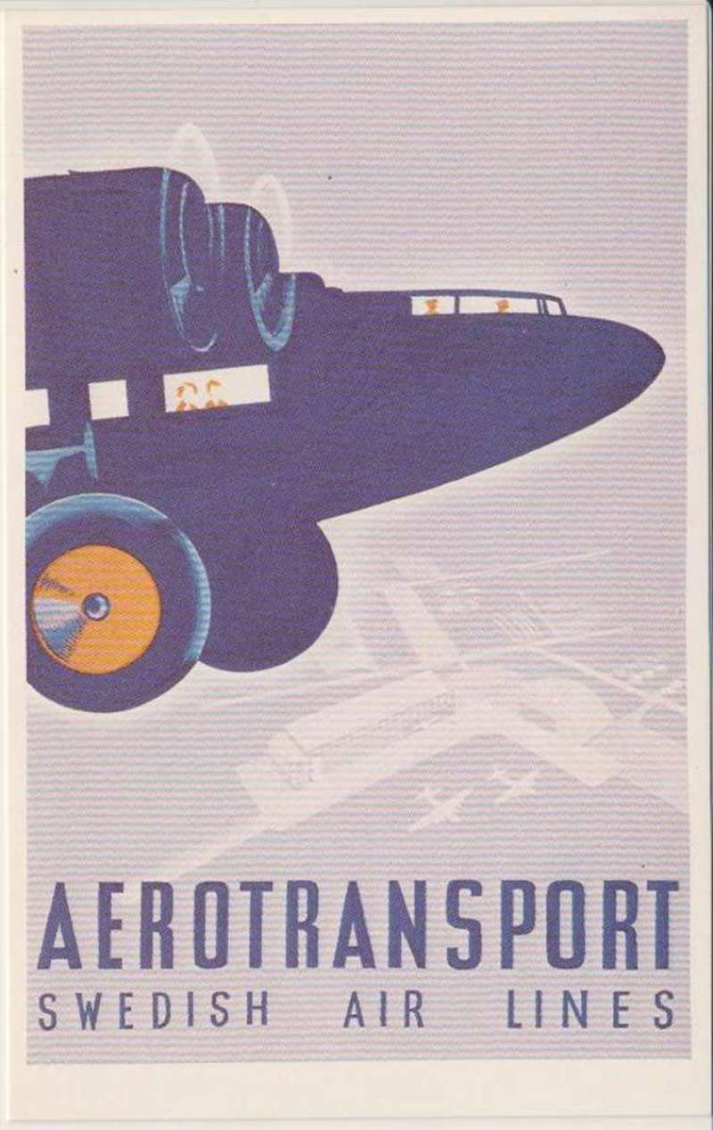 (Ephemera) Aerotranport (ABA Swedish Airlines), Dalkeith Classical Poster Series, colour PPC. ABA flew its first flight in 1924 between Stockholm and Helsinki. Before WWII, ABA operated the Scandinavian Air Express jointly with KLM between Scandinavia and London/Paris via Amsterdam, and jointly with Aero O/Y between Sweden and Finland.