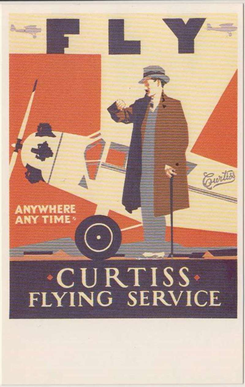 (Ephemera) Curtiss Flying Service, a Dalkeith Classic Poster PPC. Curtiss Flying Service flew with amphibians from July 1929 on two routes out of Boston to Nantucket and Bangor. These services had apparently been discontinued by the summer of 1930.The airline is reported to have operated in the New York area during 1931, but was gone by 1932.