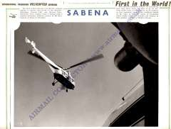 (Ephemera) Sikorsky S-55 Helicopter, Belgian Airlines, Sabena offical photograph, 18x24cm.