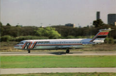 (Ephemera) Austraal BAC 1-11 in company livery on tarmac, colour PPC. Austral is a domestic airline of Argentina, and the sister company of Aerolםneas Argentinas.