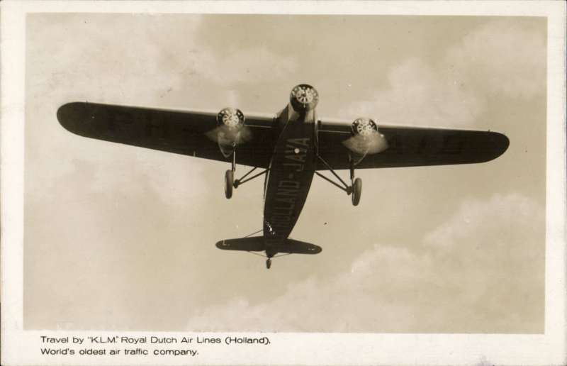 (Ephemera) KLM  The Fokker F.VII, also known as the Fokker Trimotor, was an airliner produced in the 1920s by the Dutch aircraft manufacturer Fokker. One of these planes was used in 1924 for the first flight from the Netherlands to the Dutch East Indies. B&W photocard, used.