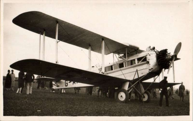 (Ephemera) Aircraft  Youth of Britain, (G-AAEV), used by Alan Cobham in an aviation promotional tour of the United Kingdom in October 7, 1929. During the tour, Cobham flew 60,000 miles (97,000 km), visited 110 towns and took aloft 40,000 passengers, including 10,000 schoolchildren free of charge. Original photocard, unused.