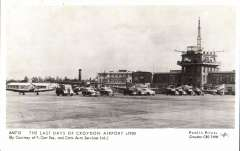 (Ephemera) Last Days of Croydon Airport c1950, showing planes and airport vehicles on the tarmac beside the control tower, B&W PPC, unused.