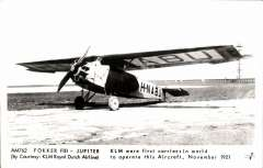 (Ephemera) KLM, Fokker F.III, H-NABH. In 1921 the English pilot Gordon Olley inaugurated the air service Amsterdam – Rotterdam – London in this plane.