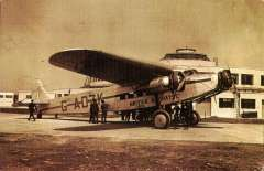(Ephemera) British Airways Fokker FXII  G-ADZK preparing to leave Gatwick airport on the new service to Le Bourget , sepia PPC repro, unused.
