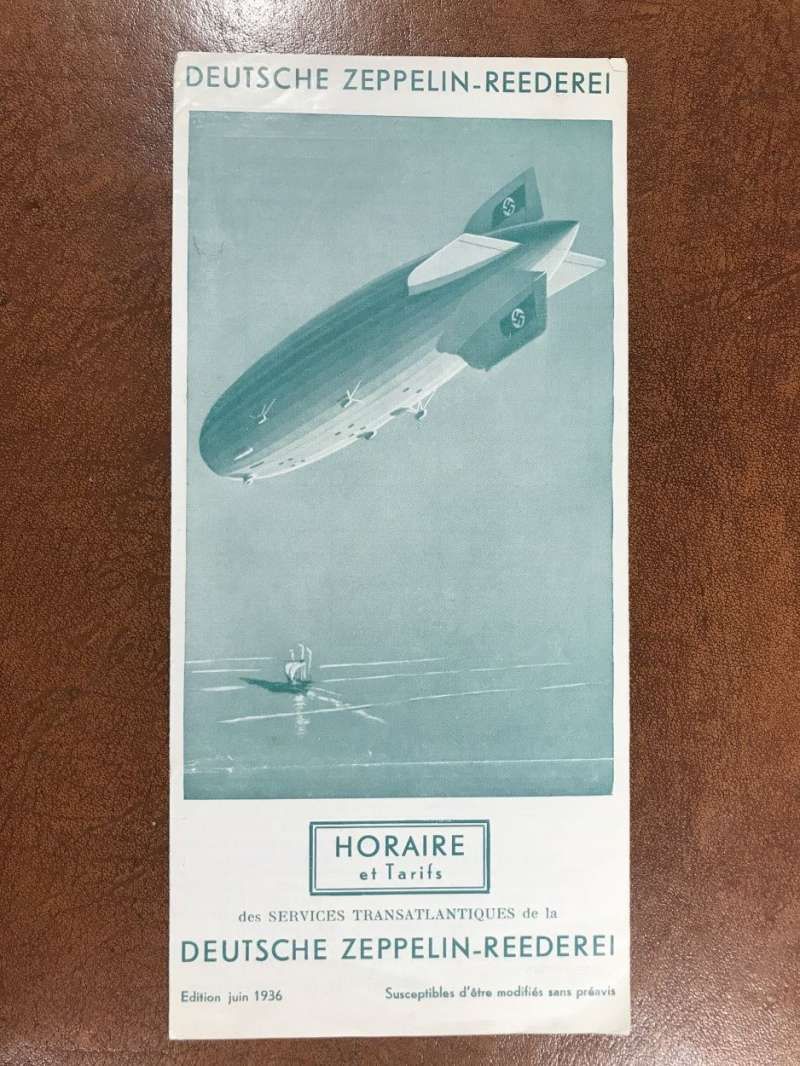 (Ephemera) 'Deutsche Zeppelin-Reederei', illustrated timetable and tariffs for the Europe-South America flights and the  Hindenburg North Atlantic service, 6pp, 21x10cm, in FRENCH.