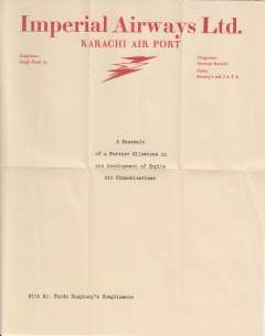 (Ephemera) Imperial Airways, Karachi Airport, red/cream headed company notepaper, with complimentary note.