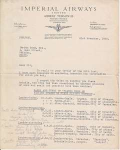 (Ephemera) Imperial Airways, Airway Terminus, London, two page letter from the Publicity Department on headed notepaper.