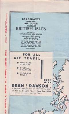 """(Ephemera) Bradshaw two sided map, 24""""x 28"""", showing British Isles, European and Intercontinental routes operational as of January 1, 1936."""