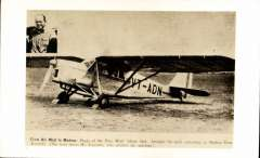 (Ephemera) First Air Mail to Madras, original sepia photocard of the Puss Moth VT-ADN that brought the mail to Madras with inset picture of Neville Vintcent.