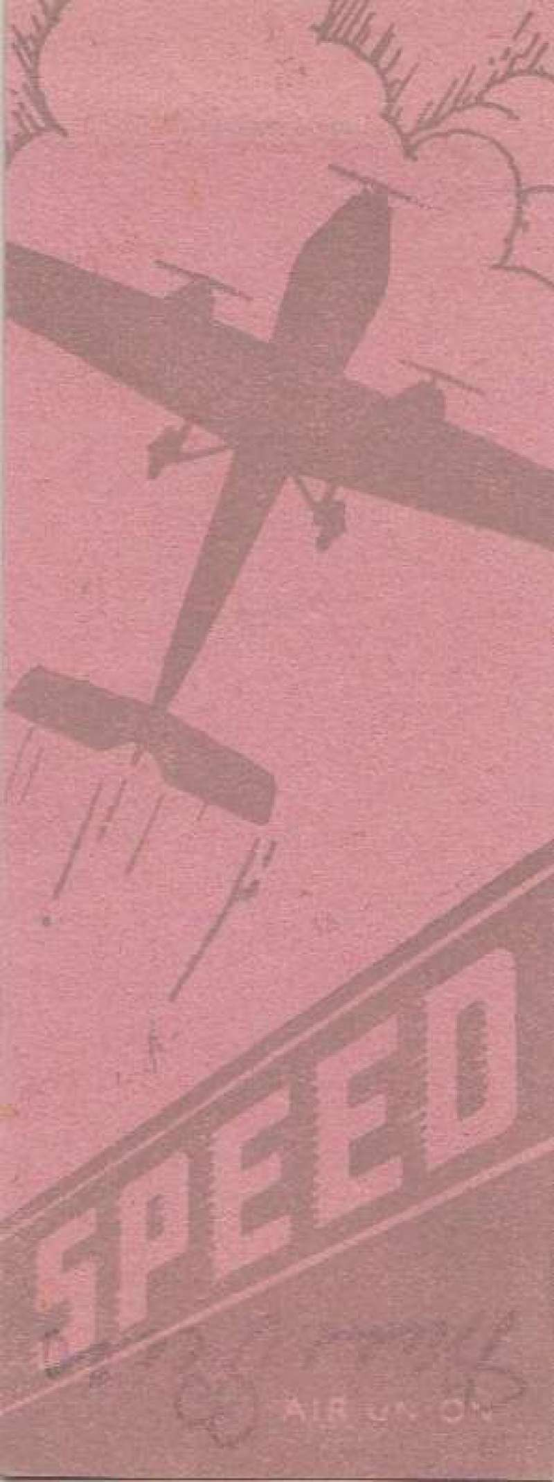 (Ephemera) Air Union, grey/pink publicity book mark,14x5cm, 'Speed' logo on one side, flight times for various destinations on the other, scarce. Air Union was a French airline operating from 1923-1933.