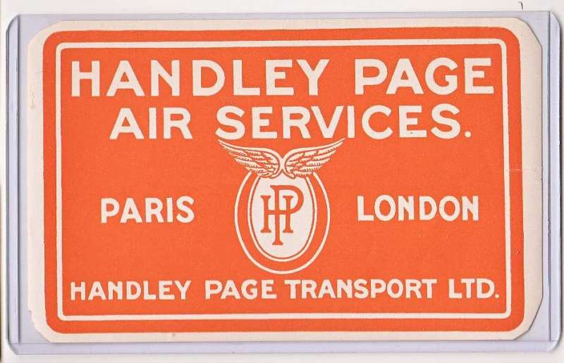 "(Ephemera) ""Handley Page/Air Services/Paris-London"" air transport label, circa 1920, red/white lettering, 145x90mm. A very scarce item in fine condition."