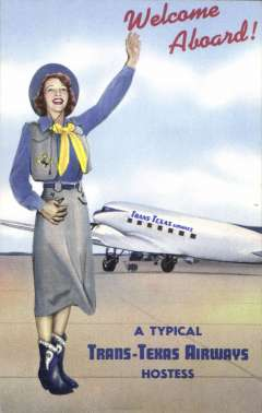 (Ephemera) Trans Texas Airways, 1947-69, publicity colour PPC showing company plane with stewardess in cowgirl clothes.