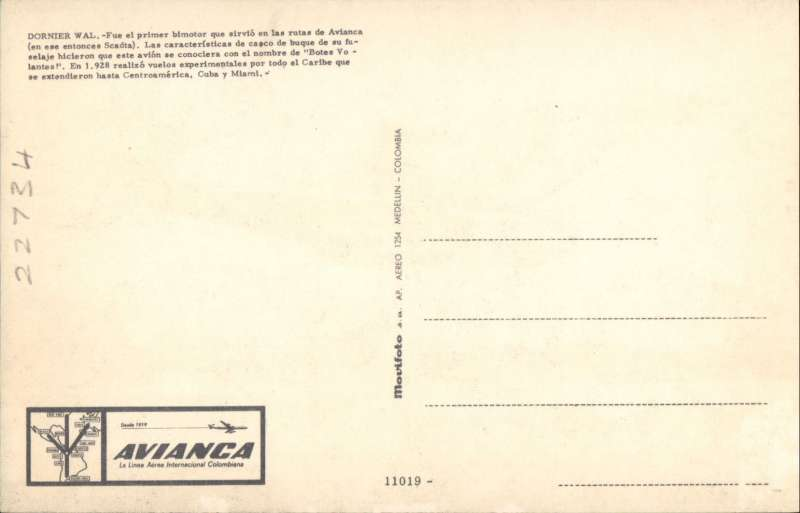 (Ephemera) Avianca publicity colour PPC showing picture of Dornier Wal in flight, c1928.