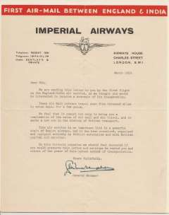 (Ephemera) Imperial Airways, letter written on headed red/black/cream company notepaper and signed by the Managing Director, dated March 1029, sent by the F/F of the England-India service as a souvenir of its inauguration. Scarce.