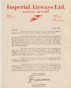 (Ephemera) Imperial Airways, Karachi Airport, a letter written on red on cream headed company notepaper, signed by the Managing Manager and dated 11 July, 1933, sent on the first regular Calcutta-Llondon service as a souvenir of its inauguration. Very fine..