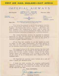 """(Ephemera) Headed Imperial Airways company notepaper with dark blue/yellow """"First Air Mail England-East Africa""""  header, IAW logo with list of stopping points on route, typed """"With Mr Woods Humphreys Compliments"""", dated March 1931, sent by the F/F of the England-East Africa air sevice as a souvenir of its inauguration."""