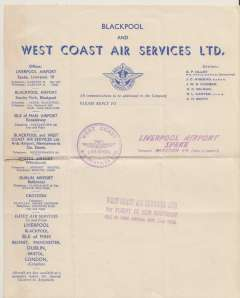 (Ephemera) Blackpool and West Coast Air Services Ltd, headed cream and blue notepaper with company logo, bearing 'West Coast/Liverpool/Air Services', 'Liverpool Airport/Speke' and ' West Coast Air Services Ltd,/1st Flight of New Contract/Isle of Man Airmail, Nov 2nd 1936' hand stamps. Scarce.