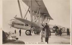 (Ephemera) 1930 Handley Page HP 42 on tarmac with passengers embarking, superb Senior Service cigarette B&W photocard, ideal size for insertion on album leaf.