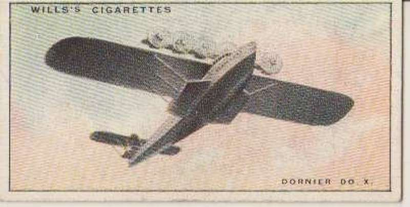 (Ephemera) Dornier DO X in flight, Wills cigarette card, ideal size for insertion on album leaf.