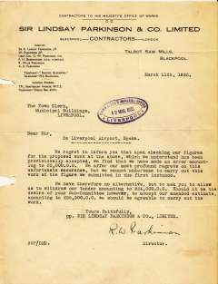 (Ephemera) An original typewritten letter addressed to the Town Clerk, Liverpool tendering £24000 to undertake building work on the new Liverpool Airport, Speke, also a drawing of the proposed new buildings published in the Liverpool Daily Post, 27/7/1935.